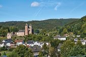 German Landscape Of A Castle Bertradaburg In The Eifel At Gerolstein. poster