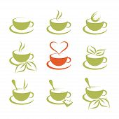 Hand Drawn Hot Coffee Cup, Hot Drinks, Cup Of Tea Logo, Food And Drink, Green Tea Cup, Set Of Hot Dr poster