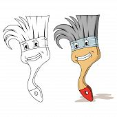 Cartoon Paint Brush Icon, Set Of Artists Tool, Brush Logo, Painting Equipment, Various Emblems Of P poster