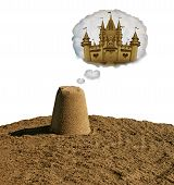 Dream Big Concept Motivational Idea Or Business Development As A Small Sand Pile Dreaming To Become  poster
