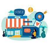 Online Store, Online Shopping, E-shopping, E-commerce, Purchasing Online, Internet Sale Flat Vector  poster