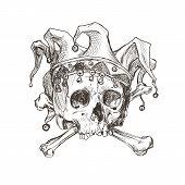 Sketch Of The Skull Of A Joker In A Comic Cap. Vector Illustration. poster