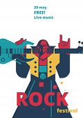 Rock Music Live Festival Poster Illustration For Concert Placard Or Entry Ticket, Advertisiement Fly poster