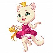 Kitty Princess Cartoon Illustration For Kid Happy Birthday Greeting Card Design Template. Isolated S poster