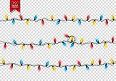 Christmas Festive Lights. Decorative Glowing Garland Isolated On Background. Shiny Colorful Decorati poster