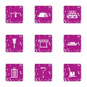 Delivery Of Construction Material Icons Set. Grunge Set Of 9 Delivery Of Construction Material Vecto poster