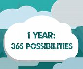 Conceptual Hand Writing Showing 1 Year 365 Possibilities. Business Photo Showcasing Beginning Of A N poster