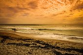 Golden Sunrise Background On An Atlantic Beach In Florida As Surfers And Paddle Boarders Enjoy The M poster