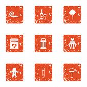 Find The Pairs Icons Set. Grunge Set Of 9 Find The Pairs Icons For Web Isolated On White Background poster