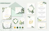 Wedding Floral Gold Invitation Card Envelope Save The Date Rsvp Menu Table Label Design With Green T poster