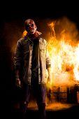 Scary Horror Scarecrow Killer Near Burning House poster