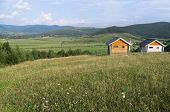 Two Small Houses For Retreat In The Beautiful Place With A View Of The Greenery Hills, Mountains And poster