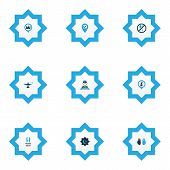 Religion Icons Colored Set With Believer, Room, Imam And Other Location Elements. Isolated Vector Il poster