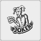 Poker Emblem With Joker Head. Vector Illustration. poster