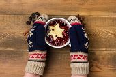 Girl In Winter Mittens Holding Cup With Hot Berrytea Hot Beverage Winter Drink Wooden Background Fla poster
