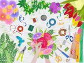 Floristics Vector Florists Hands Making Beautiful Floral Bouquet And Arranging Flowers In Flowershop poster