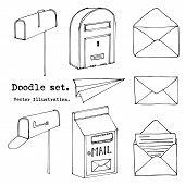 Hand Drawn Mail, Post, Mailbox, Letter, Envelope, Paper Plane Set. Vector Illustration. Doodle Eleme poster
