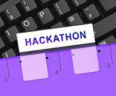 Hackathon Code Malicious Software Hack 3D Rendering poster