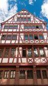 Traditional half timbered house at Romer Square (Römerplatz / Roemerplatz) in the city of Frankfurt