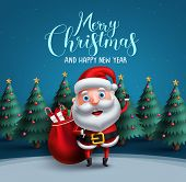 Santa Claus Vector Character Carrying Bag Of Christmas Gifts With Merry Christmas Text Greeting And  poster