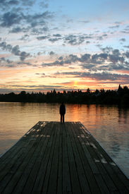image of dock a lake  - Sunrise at  - JPG