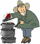 picture of dutch oven  - This illustration depicts a man cooking on three stacked dutch ovens - JPG