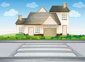 illustration of a house and zebra crossing on a road