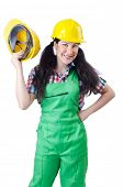 picture of hse  - Woman worker on white - JPG