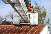 image of ladder truck  - Inservice training on a new 100 foot platform fire truck - JPG