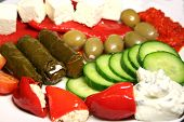picture of greek food  - mixed mediterranean food - JPG