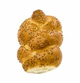 stock photo of sabbatical  - Loaf of challah bread isolated on white background - JPG