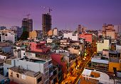 Night Urban City Skyline, Ho Chi Minh City, Vietnam.