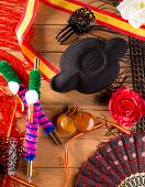 image of castanets  - Bullfighter and flamenco typical from Espana Spain torero hat castanets comb flag and rose - JPG