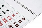 pic of weekdays  - Calendar weekdays in the paper calendar laying on the table - JPG