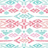 Seamless blue pink aztec vintage folklore background pattern in vector