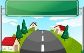 stock photo of long winding road  - Illustration of a long road and a green signboard - JPG