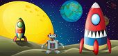 picture of outerspace  - Illustration of a robot between two spaceships at the outerspace - JPG