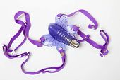 stock photo of masturbate  - Purple butterfly sex toy made of rubber or latex on white - JPG
