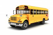 pic of truck-stop  - 3d school bus on white background - JPG