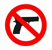 stock photo of handgun  - no weapons sign graphic handgun vector illustration - JPG