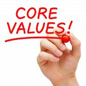 pic of conduction  - Hand writing Core Values with red marker on transparent wipe board - JPG