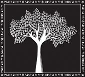 Plant a Tree - Monochrome white on black tree poster, woodcut style