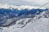picture of olympic mountains  - Olympic ski trail Rosa Khutor Sochi Russia - JPG