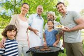 stock photo of extended family  - Portrait of an extended family standing at barbecuing in the park - JPG