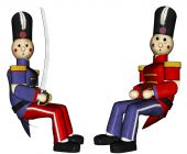 foto of tchaikovsky  - Two Toy Soldiers sit together one in a red uniform the other in a blue uniform and sword making peace to end the war - JPG