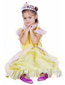 picture of tinkerbell  - A cute little girl dressed in a princess costume isolated on a white background - JPG