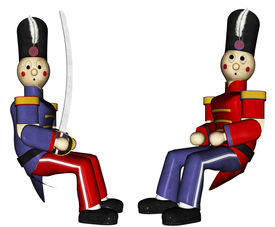 stock photo of tchaikovsky  - Two Toy Soldiers sit together one in a red uniform the other in a blue uniform and sword making peace to end the war - JPG