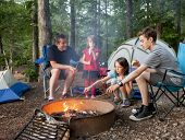 foto of father child  - father camping with kids while kids roast marshmallows - JPG