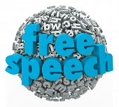 image of freedom speech  - Free Speech words on a ball of 3d letters to illustrate liberty - JPG