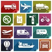 stock photo of cistern  - Transport flat icons with shadow - JPG